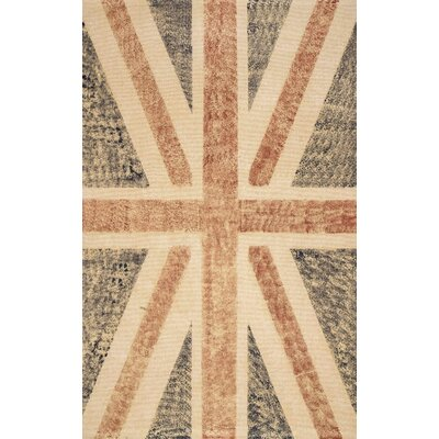 Natura Union Jack Blue Stripes Area Rug Rug Size: 5 x 8