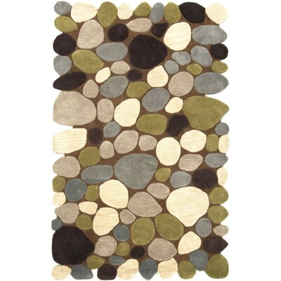 Keshawn Hand-Tufted Brown/Ivory Area Rug Rug Size: Rectangle 5 x 8