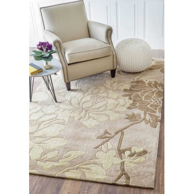 Cine Bliss Hand-Tufted Beige Area Rug Rug Size: 6 x 9