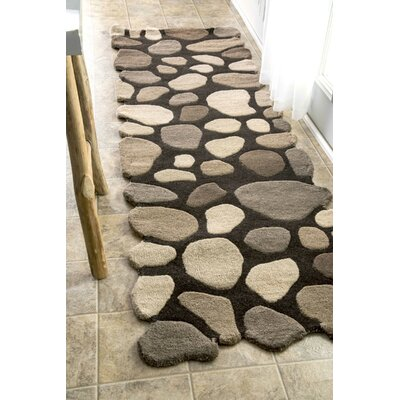 Pebbles Pebbles Hand-Tufted Dark Brown Area Rug Rug Size: 36 x 56