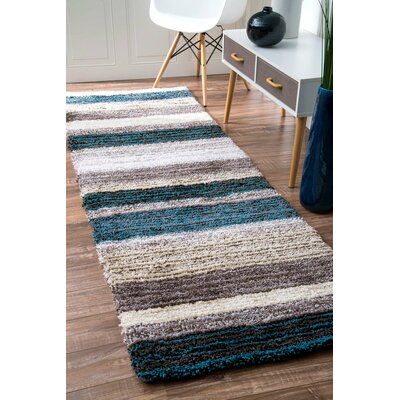 Weeden Hand-Tufted Blue/Brown Area Rug Rug Size: Runner 26 x 6