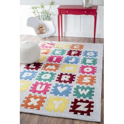 Cine Puzzle Alphabet Kids Hand-Tufted Ivory Area Rug Rug Size: Rectangle 5 x 8