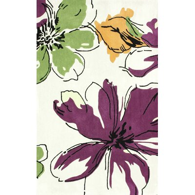 Cine Purple Rosalina / Ivory Area Rug Rug Size: 36 x 56