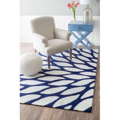 Cine Hand-Tufted Blue/White Area Rug Rug Size: 76 x 96