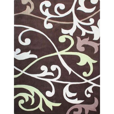 Cine Hand-Tufted Brown/White Area Rug Rug Size: Rectangle 36 x 56