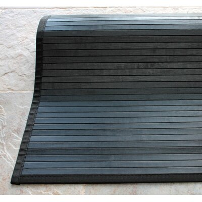 Bamboo Slat Black Area Rug Rug Size: Rectangle 5' x 8'
