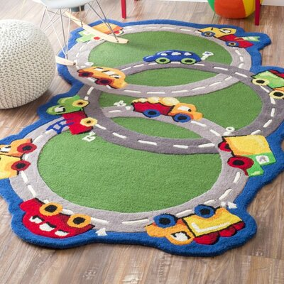 Kinder Traffic Time Green Area Rug Rug Size: 3 x 5