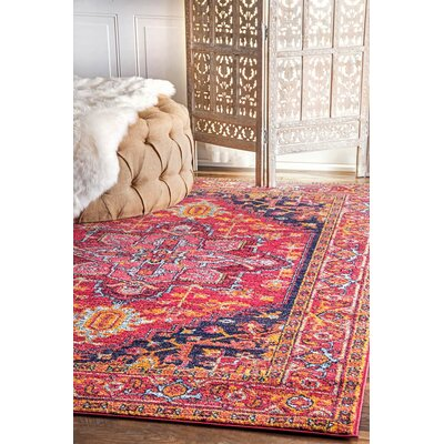 Christophe Blooming Pink/Orange Area Rug Rug Size: 3 x 5