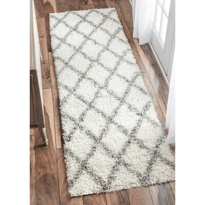 Colona White/Gray Area Rug Rug Size: Runner 28 x 8