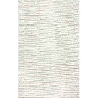 Dunfee Chunky Hand-Woven Wool Off White Area Rug Rug Size: Rectangle 4 x 6