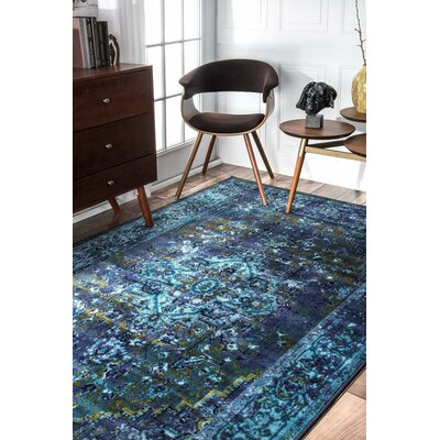 Tyrese Blue Area Rug Rug Size: Rectangle 67 x 9