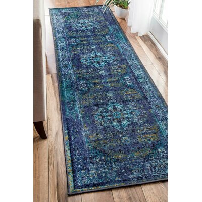 Tyrese Blue Area Rug Rug Size: Runner 26 x 86