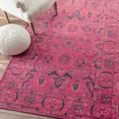 Reid Overdyed Style Hand-Tufted Wool Pink Area Rug Rug Size: 4 x 6