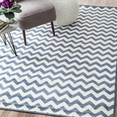 Poise Chevron Light Blue/White Area Rug Rug Size: 53 x 79