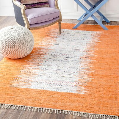 Munegu Handmade Orange/White Area Rug Rug Size: 5 x 8