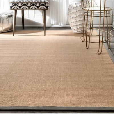Natura Framed Border Tan Area Rug Rug Size: Rectangle 9 x 12