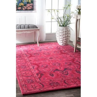 Reid Overdyed Style Hand-Tufted Wool Pink Area Rug Rug Size: 5 x 8