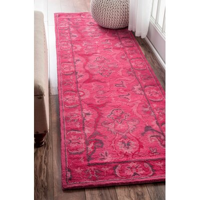 Reid Overdyed Style Hand-Tufted Wool Pink Area Rug Rug Size: Runner 26 x 10