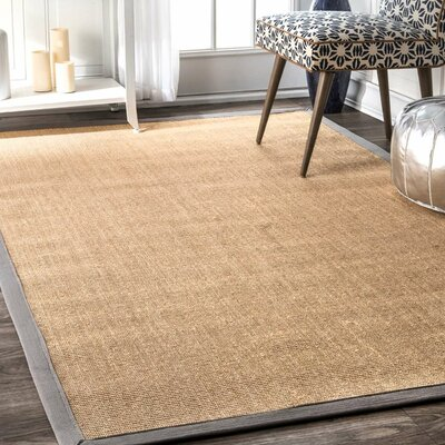 Natura Herringbone Brown Area Rug Rug Size: 9 x 12