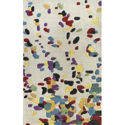 Cine Drops Hand-Tufted White/Blue Area Rug Rug Size: Rectangle 5 x 8