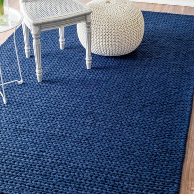 Berkman Hand-Woven Navy Area Rug Rug Size: Rectangle 5 x 8