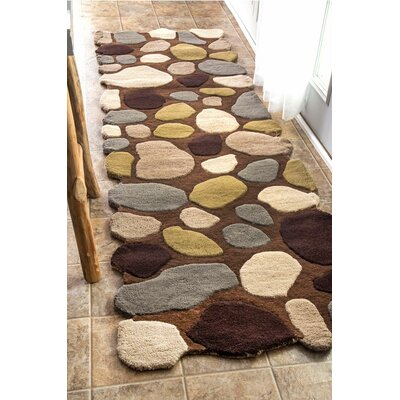 Keshawn Hand-Tufted Brown/Ivory Area Rug Rug Size: Runner 2'6