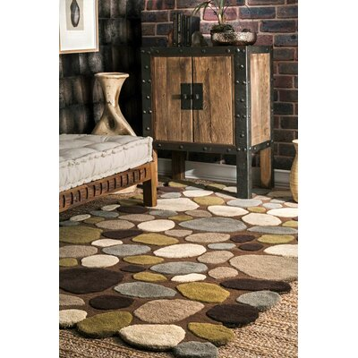 Keshawn Hand-Tufted Brown/Ivory Area Rug Rug Size: Rectangle 76 x 96