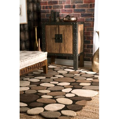 Pebbles Pebbles Hand-Tufted Dark Brown Area Rug Rug Size: 76 x 96