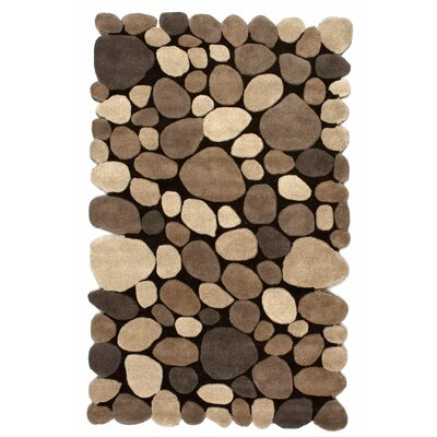 Alpert Pebbles Hand-Tufted Dark Brown Area Rug Rug Size: Rectangle 76 x 96