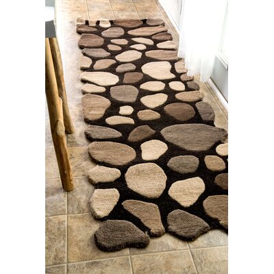 Pebbles Pebbles Hand-Tufted Dark Brown Area Rug Rug Size: Runner 26 x 8