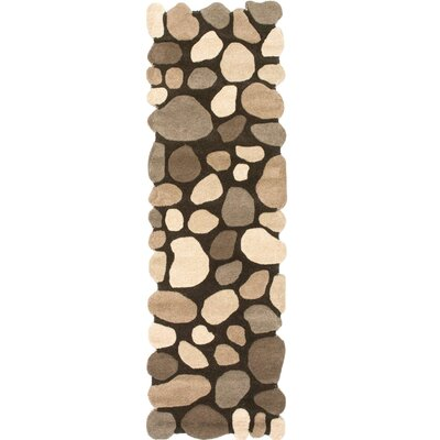 Alpert Pebbles Hand-Tufted Dark Brown Area Rug Rug Size: Runner 26 x 8
