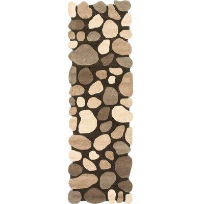 Alpert Pebbles Hand-Tufted Dark Brown Area Rug Rug Size: Runner 26 x 12