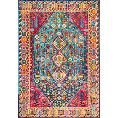 Azemmour Blue/Red Area Rug Rug Size: Rectangle 4 x 6