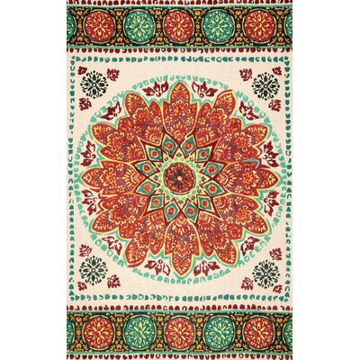 Barr Orange Area Rug Rug Size: 76 x 96