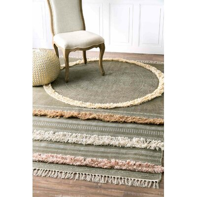 Carvell Hand-Woven Green Area Rug Rug Size: Rectangle 5 x 8