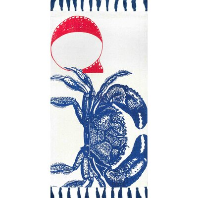 Hand-Woven Crab Blue Area Rug Rug Size: 2 x 3