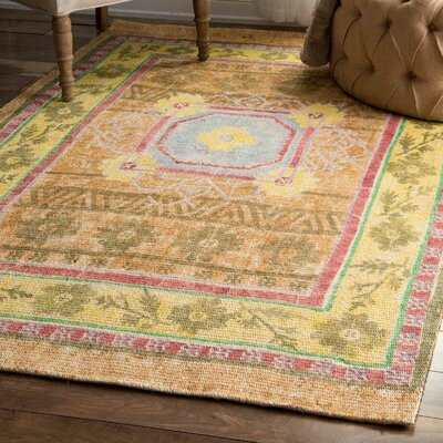Carressa Yellow Area Rug Rug Size: 76 x 96