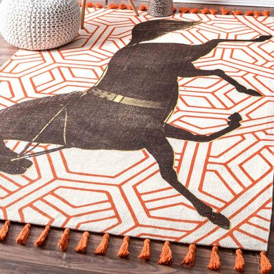 Hand-Woven Mare Orange Area Rug Rug Size: 5 x 8
