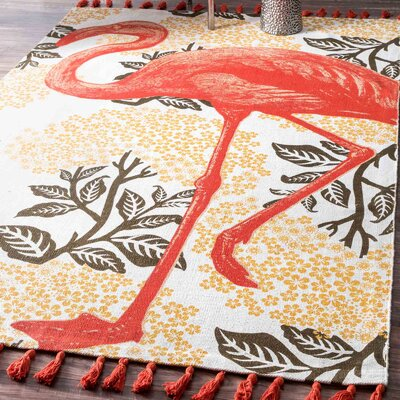 Hand-Woven Flamingo Yellow Area Rug Rug Size: 4 x 6