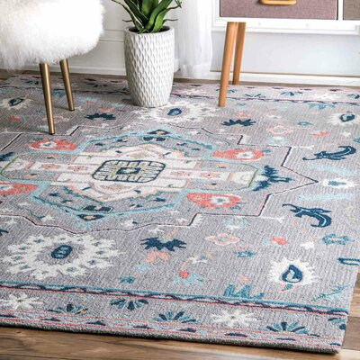 Caressa Handmade Gray Area Rug Rug Size: Rectangle  7 x 10