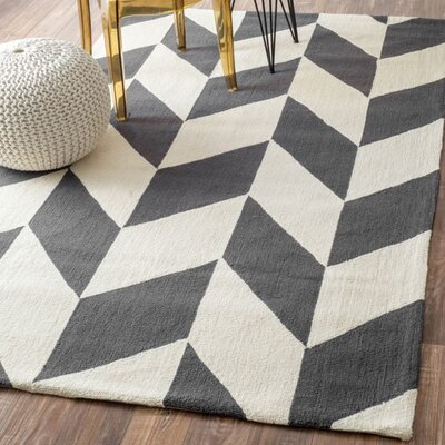 Chelsea Chevron Hand Hooked Wool Charcoal Area Rug Rug Size: 86 x 116