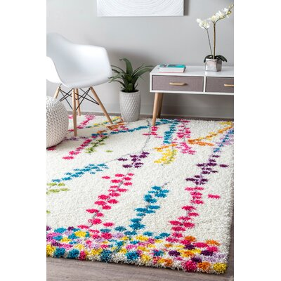 Winslow Red/White Area Rug Rug Size: Rectangle 53 x 76
