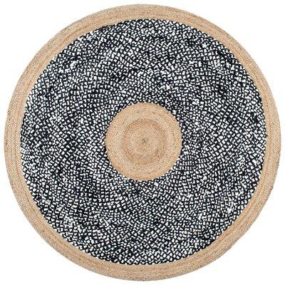 Risha Black Area Rug Rug Size: Round 6