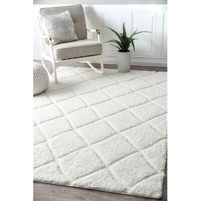Hermione White Area Rug Rug Size: Rectangle 53 x 76
