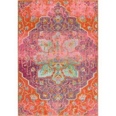 Marienville Orange/Pink Area Rug Rug Size: 53 x 77