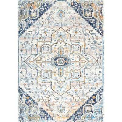 Finian Blue/Ivory Area Rug Rug Size: Rectangle 5'3