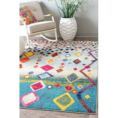 Cian Blue/Gray Area Rug Rug Size: Rectangle 53 x 77