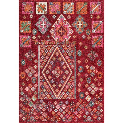 Damita Red/Pink Area Rug Rug Size: 53 x 77