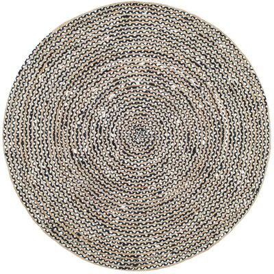 Kartik Black/Orange Area Rug Rug Size: Round 6