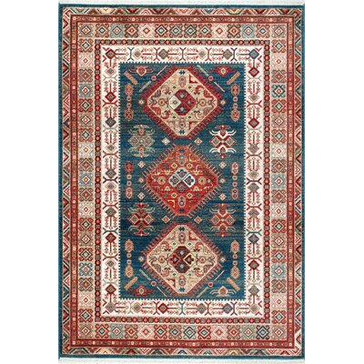 La Puente Blue/Red Area Rug Rug Size: 9 x 12